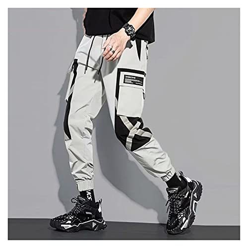 DOUYUAN Pantalón Cargo de Punk Pant Monos de Hombres Hip Hop Street Casual Jogging Pantalones Moda Harajuku Cintura de Estiramiento Pantalones for Hombre (Color : Gray, Size : Asian Size 2XL)