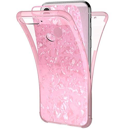 Ysimee Coque Compatible pour Huawei Y6 2018 360 Degrés Étui en Transparente Silicone Double Face Couverture Protection Complète Avant et Arrière Antichoc Bumper Ultra Slim Housse Motif Coquillage,Rose