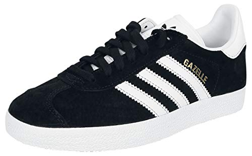 adidas Gazelle, Baskets Mixte Adulte, Noir (Core Black/White/Gold Metallic), 47 1/3 EU