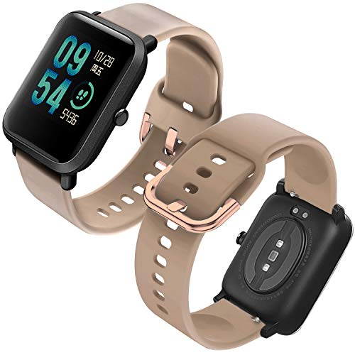 Th-some Correa para Amazfit GTS Impermeable Universal - Reemplazo de Pulsera Ajustable para Xiaomi Huami Amazfit Bip/Amazfit Bip bit Lite Youth/Amazfit GTR 42mm Watch, Sin Tracker (Caqui)