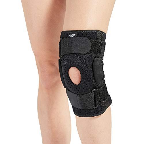Ginocchiera con cerniere, per uomini e donne, supporto per ginocchio, per gonfiore e lesioni al legamento crociato anteriore, tendine, legamenti e menisco