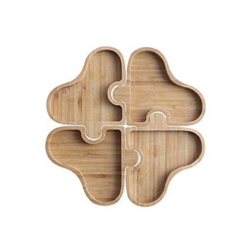 Daily Accessories Creative 4 Grid Puzzle Snack Board Solid Wood Candy and Dried Fruit Snack Tray Desktop Decoration Fruit Tray