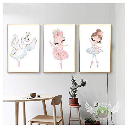 AdoDecor Bonito Dibujo de Princesa Bailarina de Ballet, Dulce decoración del hogar, Pintura en Lienzo nórdica, póster artístico de Pared, impresión para Dormitorio de niña, 50x72cmx3 sin Marco