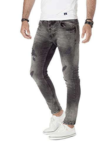 PITTMAN Jeans Skinny Fit M440 - Zerissene Jeans Herren - graues Hose eng Stretchjeans - Männer Strecht Hosen, Schwarz (Phantom Black 4205), W31/L32