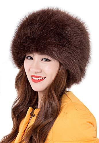 ASKEN Damen Kunstpelz Hut Strecken Russische Kosaken Winter Warme Ski Ohrenschützer Mütze Kaffee