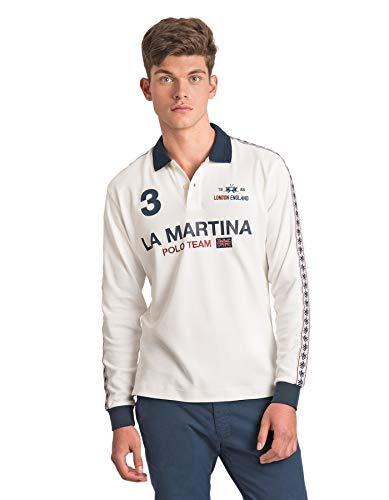 La Martina Herren Man Polo L/s Jersey Interlock Poloshirt, Elfenbein (Off White 00002), X-Large