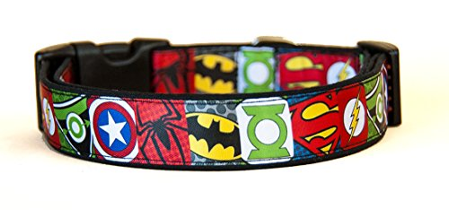 MasTazas Superheros Batman Superman Spiderman Green Arrow Captain America Green Lantern Hundehalsband Handgemachte Größe M Ohne Hundeleine Dog Collar Handmade