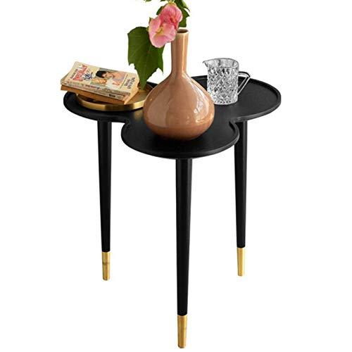 Jcnfa-side table 3-tray Coffee Table,Copper Feet,Black Oak Desktop,Coffee Side Table(Size:21.85 * 20.47 * 18.11in,Color:black)