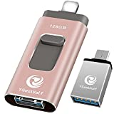 USB Flash Drive 128GB USB Flash Drive Type c Flash Drive 3.0 YSeaWolf photostick Mobile for USB External Storage, Type c, Android, PC USB Picture Stick USB Memory Stick for iPhone (Pink)