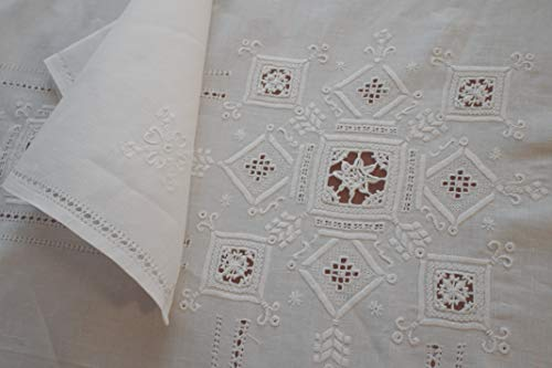 RICAMI FIORENTINI BALDI Tischdecke aus 100% Leinen, weiß, 175 x 275 cm, rechteckig, 12 x 12 cm, mit 12 Servietten mit Lilie, antiker Punkt, Nadelstich, Lilienblume