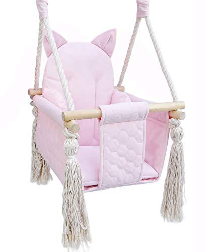 Baby Schaukel outdoor indoor - Kinderschaukel Babyschaukel für Türrahmen Kinderschaukelsitz (ROSA, KATZE)