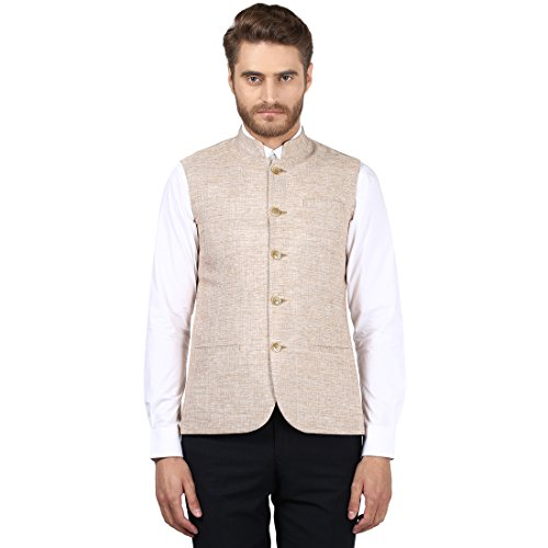 Park Avenue Light Fawn Slim Fit Polyester Waistcoat