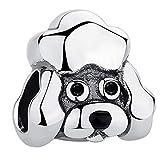 LYDXD Fit Original Pandora Bracelet 925 en Argent Sterling Charme Mignon Animal Chiot Chien Pendentif Breloques Collier Bijoux À Bricoler Soi-Même A