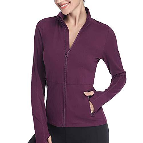 VUTRU Damen Laufjacke Slim Fit Sportjacke voll Reißverschluss Yoga Jacken Langarm Trainingsjacke mit Daumenloch Violett L