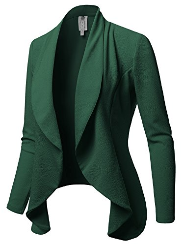 Solid Formal Office Open Front Long Sleeves Blazer - Made in USA Hunter Green S
