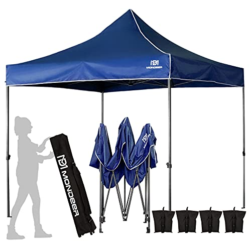 Mondeer 3x3M Pop Up Gazebo, Full Waterproof and Anti-UV, Heavy Duty Tent Metal Steel Frame PU Coated, with 4 Weight Bags and Carrying Bag for Outdoor Garden Patio Party (Blue)