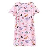 Nachthemden fur Madchen Kurzarm Nachthemd fur Sommer Baumwolle Frucht Haschen Giraffe Elefant Stern Blume Rosa 7-8 Jahre