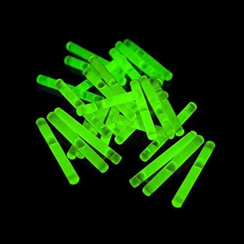 Eva Shop® 50 Premium Micro Mini Knicklichter 40 x 4,5 mm Leuchtstäbe Angelsport Bissanzeiger Glowstick Partylichter LED Luftballon Party Tischdekroration Neon 50er Pack Grün
