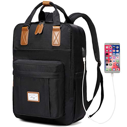 Backpack for Men, Kasgo Water Resistant School Backpack 15.6 inch Laptop Rucksack with USB Charging Port Bookbag Casual Daypack for Women Teenagers College Travel Work (Black)