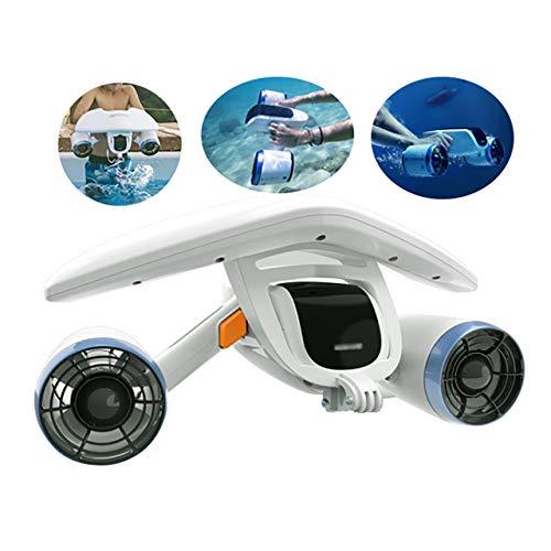 QQLK Scooter EléCtrico de Buceo de Mar, Scooter HéLice SubacuáTica, Empuje de 8KGF, 1.5M / S, Profundidad de Agua Extrema de 40M, con Cabina de FlotacióN y Cuerda de Seguridad, 2.5Kg,1