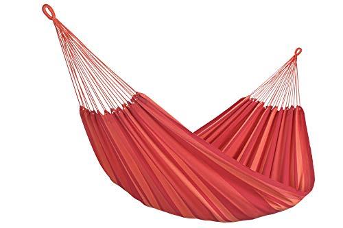 Amalyssa - Hamac Brésilien Double : Extreme Magma - Coton Bio - Rouge & Orange - Toile Résistante - Confort & Solidité - Séchage Rapide - Lavable 30° - Fabrication Artisanale