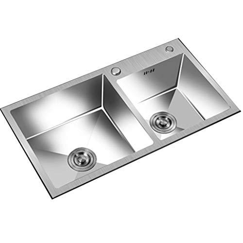 YUESFZ Küchenspülen Doppelspülbecken Aus Edelstahl Quadratisches Waschbecken Für Die Gästetoilette Waschtisch Für Gemüse Und Obst Im Restaurant (Color : Gray, Size : 72 * 39cm)