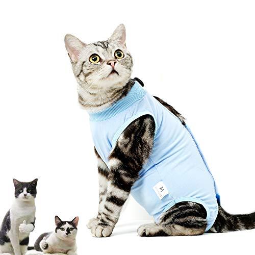 CandyCare Mascotas Traje de recuperación quirúrgica para Gatos, Destete Ropa Chaleco pequeño Mediano Grande Gatos, Anti lamida con Sonaja y DIY Anti-Lost Número Celular Azul S