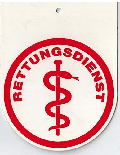 Hinweisschild f. Rückspiegel im Auto - RETTUNGSDIENST - Gr. 8x10,5cm - 308045/2 weiß incl. Saugnapf