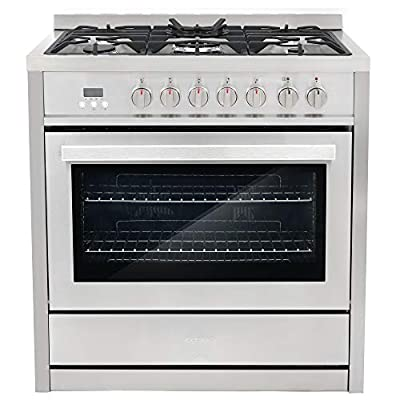 Cosmo COS-F965NF Commercial-Style 36 in. 3.8 cu. ft. Dual Fuel Range with 5 Burners and 8 Function Convection Oven, Cast Iron Grates in Stainless Steel