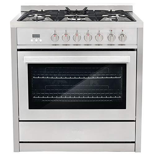 Cosmo COS-F965NF 36 in. Dual Fuel Range with 5 Gas Burners, Electric Convection Oven with 3.8 cu. ft. Capacity, 8 Functions, Black Porcelain Interior in Stainless Steel
