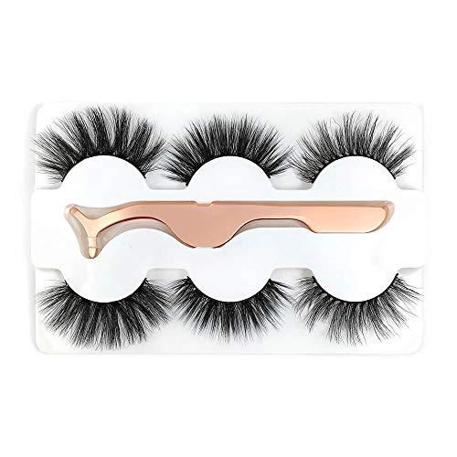 3 paires de faux cils 6D avec pince à épiler entrecroisées maquillage naturel cils faux duvet de vison faux for la mode féminine (Color : 9)