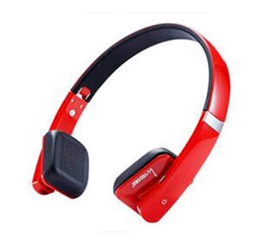 Kaper Go Auriculares Auricular Plegable Estéreo Inalámbrico Bluetooth V4.0 + EDR con Micrófono, Teléfono Inalámbrico, Música Universal, Rojo (Color : Red)