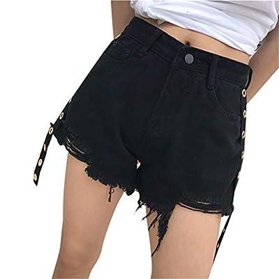 RAINED-Women's Denim High Waist Cutoff Shorts Frayed Raw Hem Ripped Distressed Denim Shorts