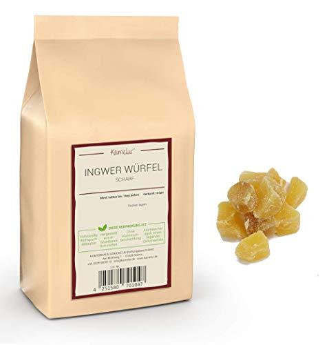 1kg de dés de gingembre piquant - Cubes de gingembre sucré et confit de qualité supérieure, agréablement piquant et sans sulfites