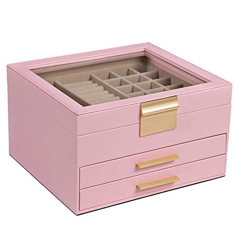 SONGMICS Schmuckkästchen mit Glasdeckel, Schmuckkasten mit 3 Ebenen, Schmuckbox mit 2 Schubladen, Schmuckaufbewahrung, Geschenk für Ihre Liebsten, rosa JBC239P01