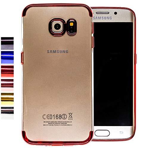 COOVY® Étui pour Samsung Galaxy S6 Edge SM-G925F SM-G925 Coque Antichoc en Silicone TPU, ultralégère, Ultrafine, Transparente avec Les Bords chromés | Couleur Rouge