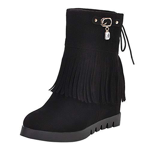 SuperSU-Stiefel Damen Herbst Mode Riemchen Stiefelette Quasten Stiefel,Frauen Runde Toe Casual Schnürstiefel |Schneestiefel |Bankettstiefel |Freizeitschuhestiefel |Römerstiefel