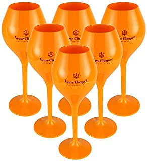 Veuve Clicquot Rich Coupe Yellow Acryl Champagner Champagne Glas 6er Trendy Gläser Set Small Size, 260ml