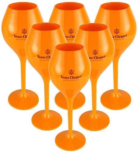 Veuve Clicquot Rich Coupe Yellow Acryl champagne glas 6-delige trendy glazen set (Small Size, 260ml)