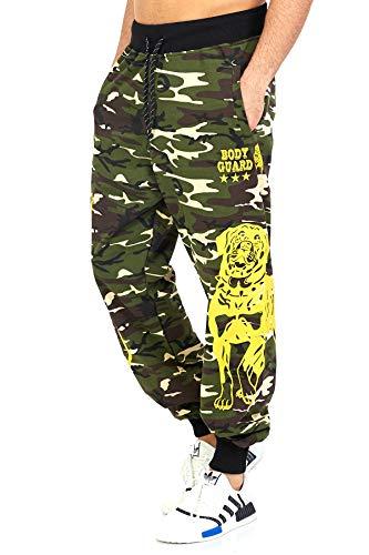 Raff & Taff Jogginghose Sweatpants Sporthose Bulldog Bodyguard aus hochwertiger Baumwollmischung (Woodland, M~46)