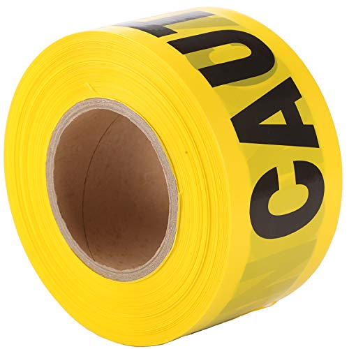 KINGPLAST Yellow Caution Tape Roll - 3 Inch 1000 Feet Non-Adhesive Yellow/Black Barricade Warning Tape for Safety Quarantine Danger Construction Crime Scene
