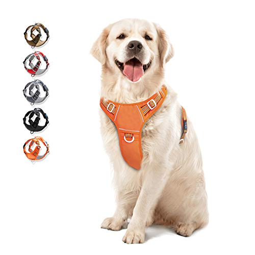 Dog Harness No Pull Reflective, WALKTOFINE Comfortable Harness with Handle,Fully Adjustable Pet Leash Vest for Small Medium Large Dog Breed Car Seat Harness Orange L