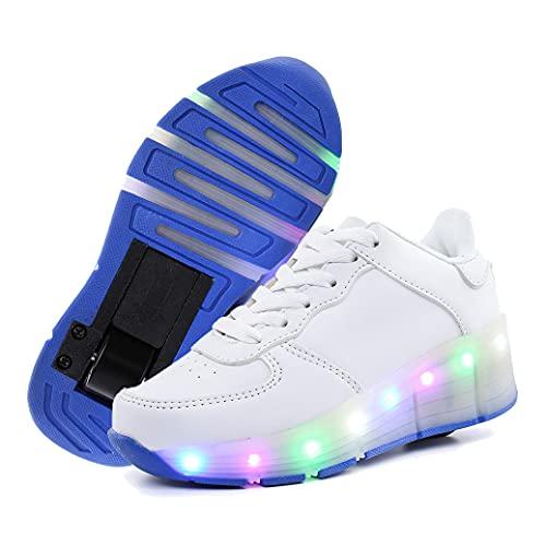 GGBLCS LED Luces Zapatillas con Ruedas para Niños Niña 7 Colores Luminosas Flash Zapatos de Rueda Patines Deportivo Zapatos de Skateboard,Blanco,29 EU