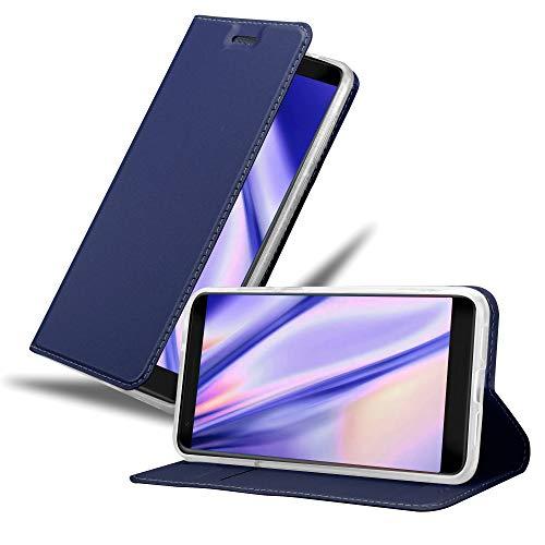 Cadorabo Hülle für ZTE Blade V9 in Classy DUNKEL BLAU - Handyhülle mit Magnetverschluss, Standfunktion & Kartenfach - Hülle Cover Schutzhülle Etui Tasche Book Klapp Style