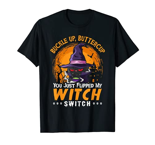 Halloween gato hebilla hasta Buttercup divertido bruja interruptor mujeres Camiseta