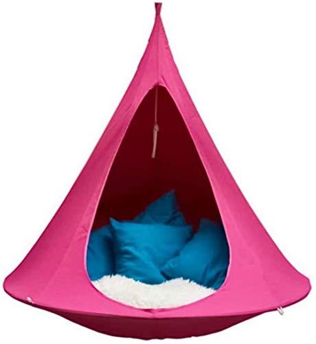 Topinged Schaukel Hängemattenstuhl für Kinder Wandern Camping Hängesessel Schaukel Tragbare Oxford Seilschaukel wasserdichte Form Konische Zeltbaum Hängemattenstuhl für drinnen und draußen-Rosa_Einer