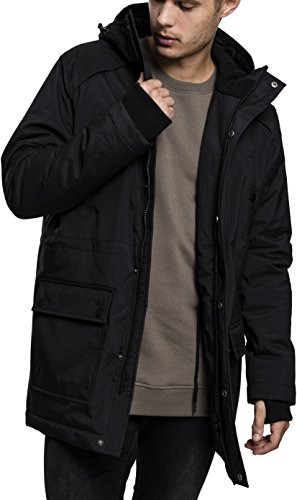 Urban Classics Herren Hooded Heavy Thumbhole Parka, Schwarz (Black 7), XX-Large