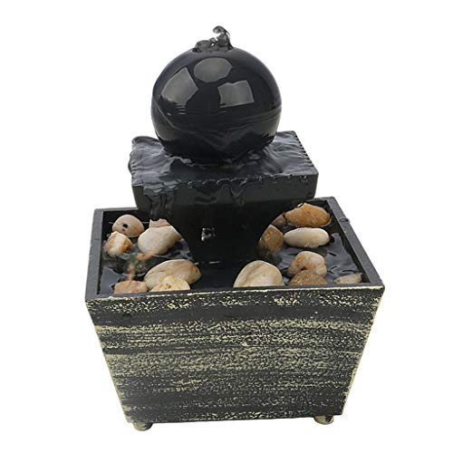 Fenteer Tabletop Fountain with Warm Lights - Round Ball Falls Indoor...