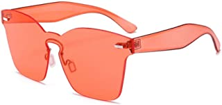 Fashion Women-Colorful One Piece Transparent Super Retro Sunglasses Retro (Color : Orange)