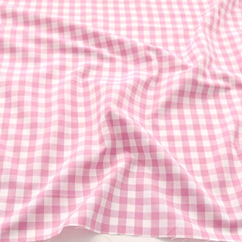 TOLKO Baumwollstoff kariert   der Vichy-Karo Klassiker zum Nähen/Dekorieren aus Baumwolle als Kleiderstoff Dekostoff Bezugsstoff   in 5 Farben   160cm breit - Meterware (10 x 10 mm, Rosa)
